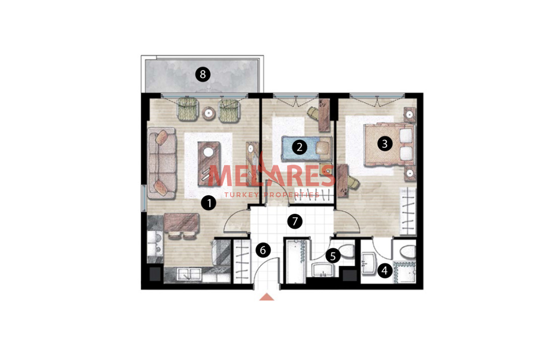 A Wonderful 2 Bedrooms Apartment with Modernity and Comfort