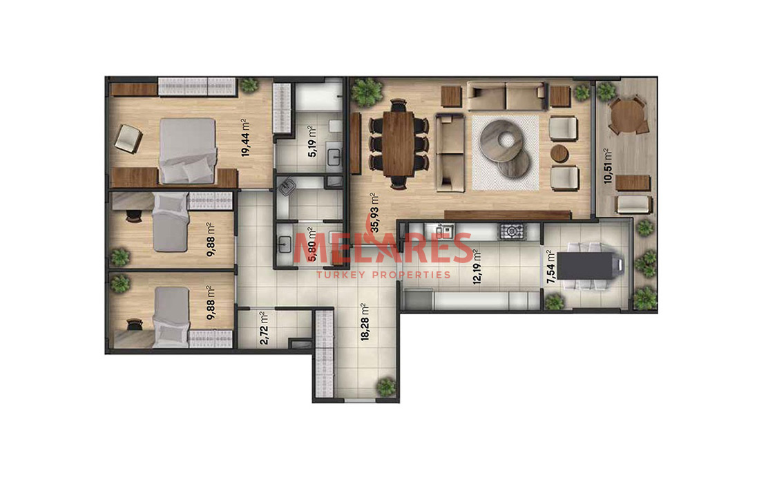 3 Bedrooms Apartment Combining Luxury with Quality