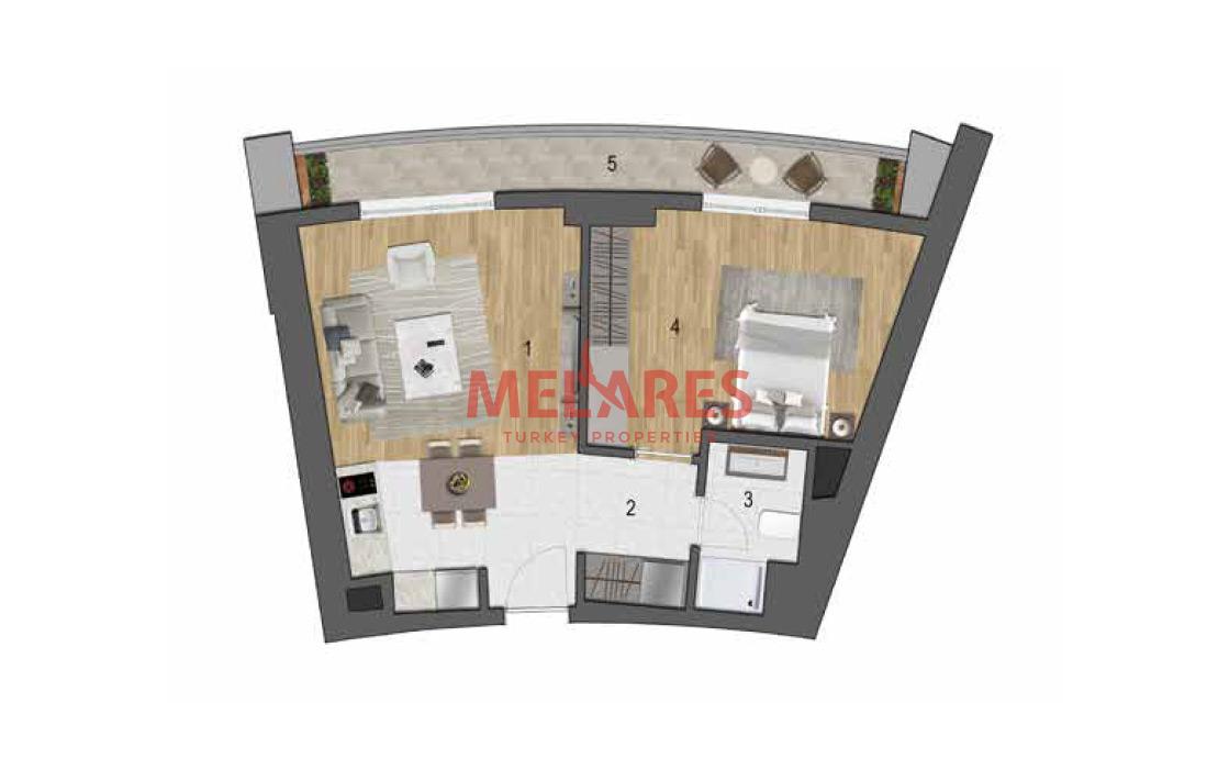 Modern Apartment with Open Kitchen in Esenyurt Istanbul