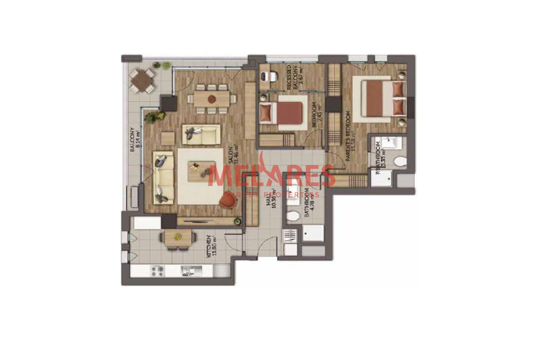 A Spacious 2 Bedroom Apartment With a Closed Kitchen