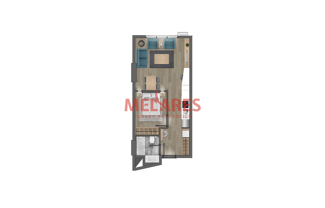 One Bedroom Rectangular Unit in a Calm Area