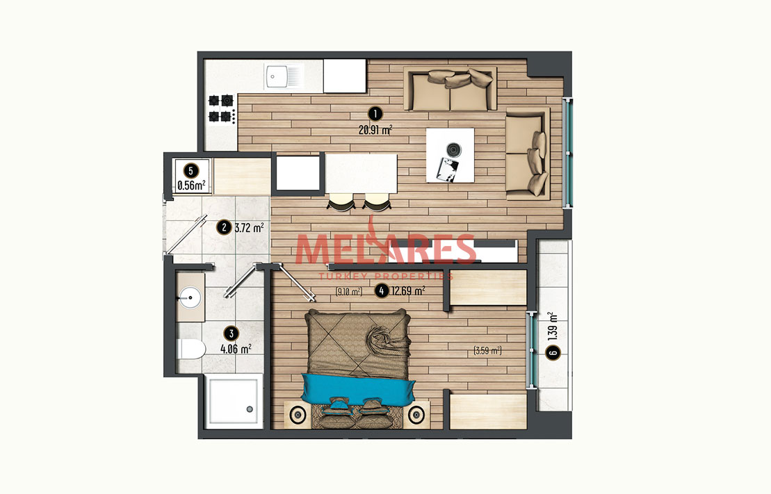 Minimalist and Exclusive Lifestyle in 1 Bedroom Apartment