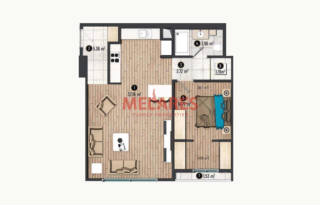 1 Bedroom Apartment in Beylikduzu