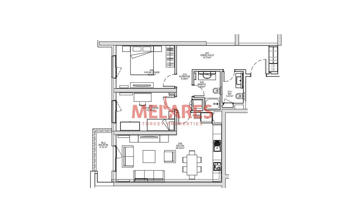 A Brand Life Style in 2 Bedrooms Apartment Near Buyukcekmece Sea