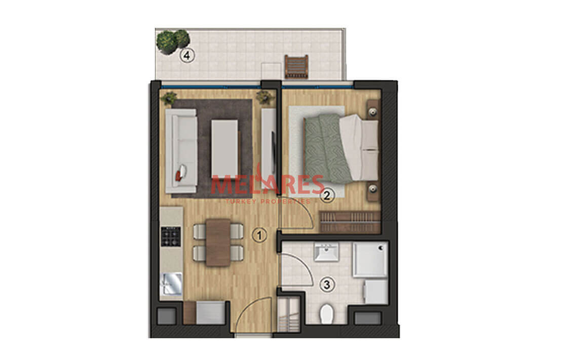 Residence in Turkey With One Bedroom