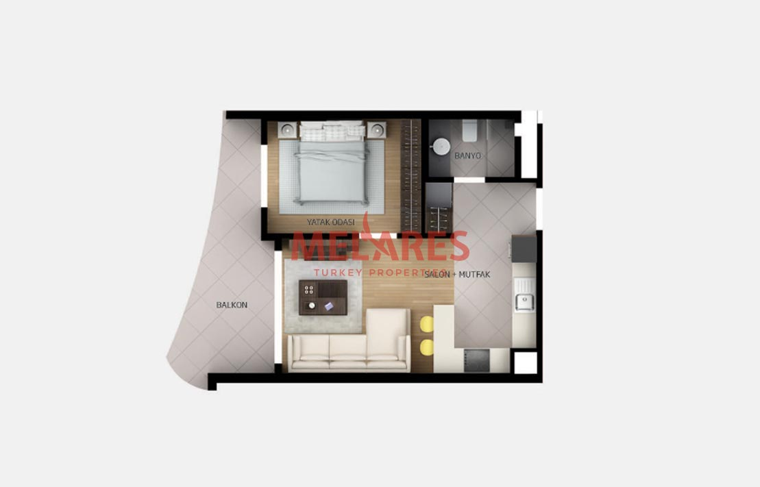 West Facade Apartment with Landscape View for Sale in Istanbul