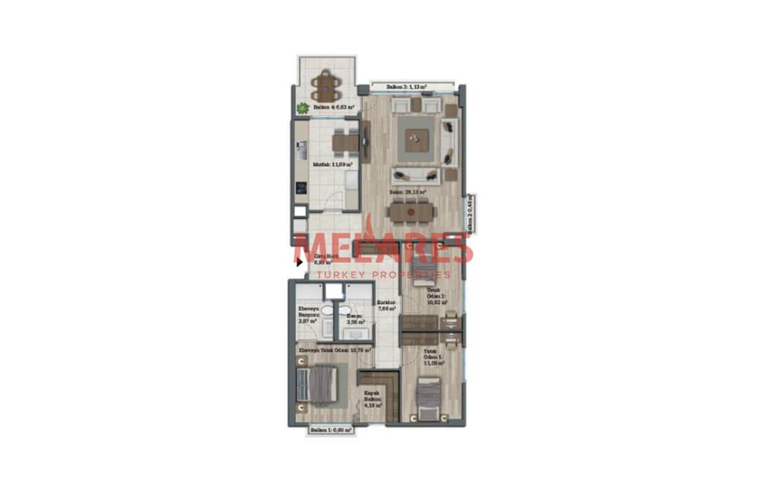 3 Bedrooms Apartment with Stunnig İnterior Design in Istanbul