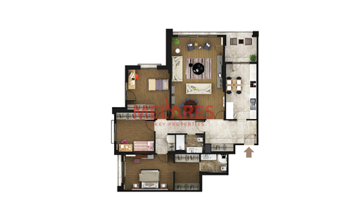 Luxury 3-Bedroom Apartment with Master Bedroom