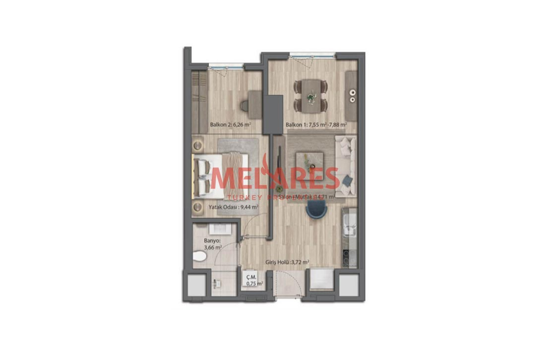 Apartment for Sale with an Elegant Floor Plan in Istanbul
