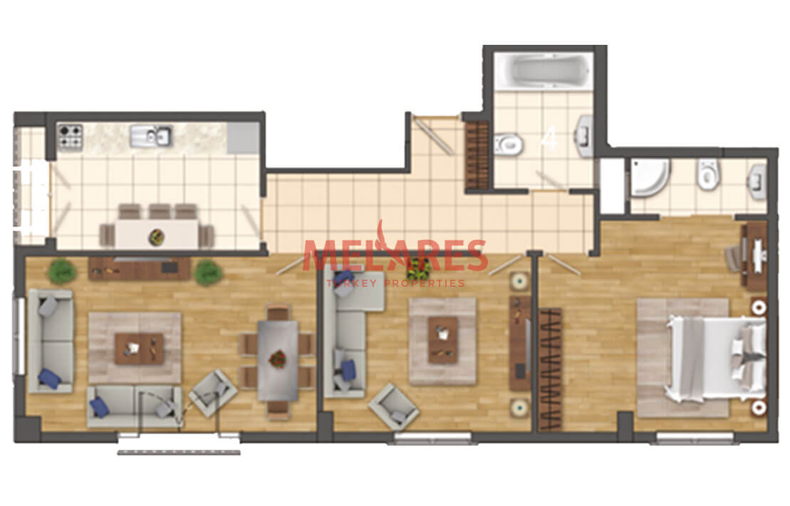 Two-Bedroom Property for Sale in Istanbul at the Center of Beylikduzu