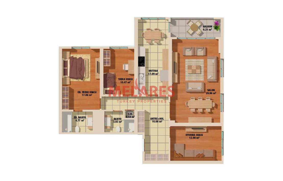 Stunning Three Bedrooms Family Concept House for Sale in Turkey