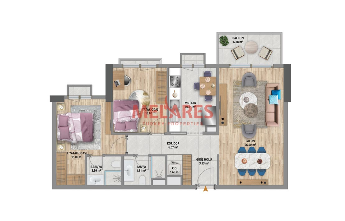 Beautiful Two Bedrooms Apartment in the Heart of Bahcesehir