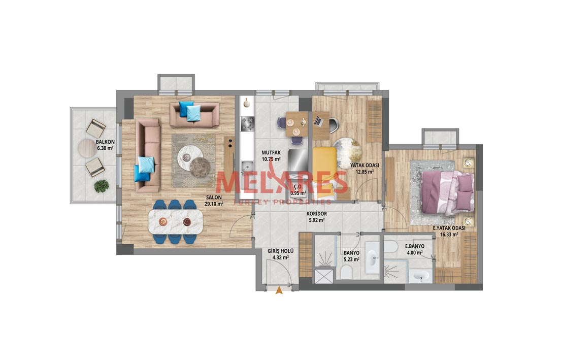 Awesome Two Bedrooms Apartment  in the Heart of Bahcesehir