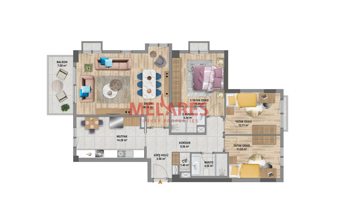 Amazing Three Bedrooms Apartment  in the Heart of Bahcesehir