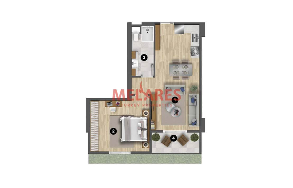 Apartment for Sale in Istanbul with American Kitchen Style