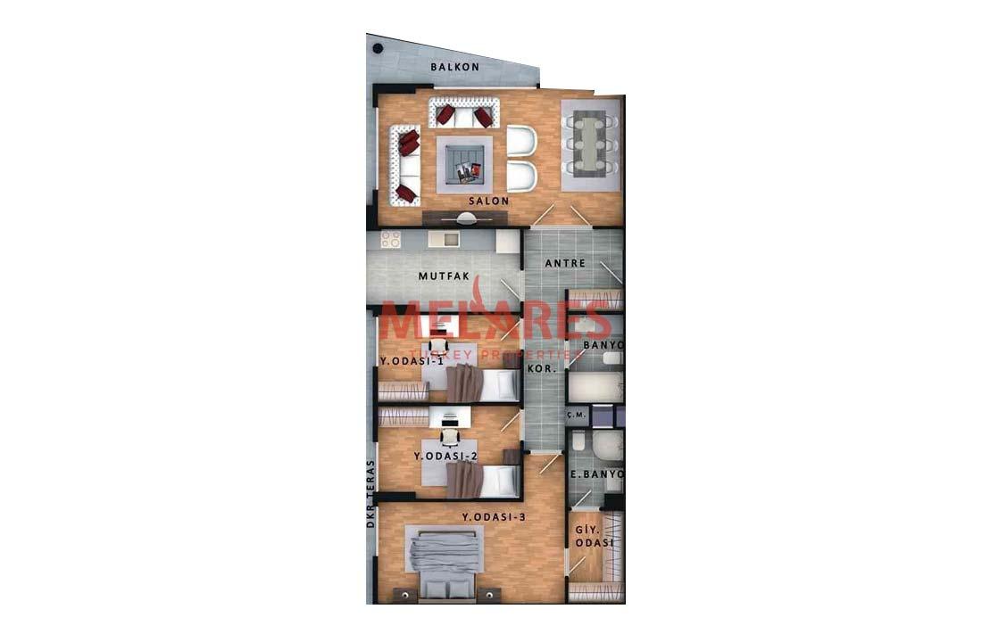 Apartment with Big Dressing Room in Istanbul Beylikduzu