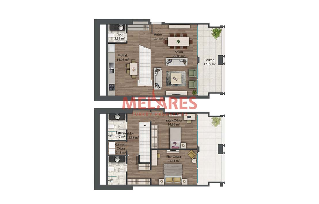 Family Duplex House for Sale in Istanbul Kadikoy